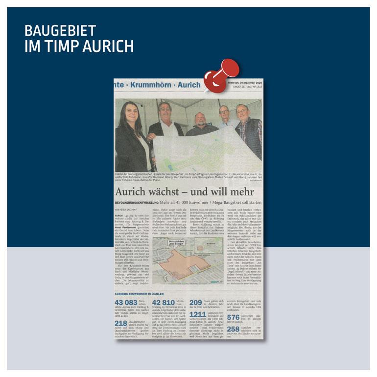 """Zeitungsartikel """"Aurich wächst - und will mehr"""""""